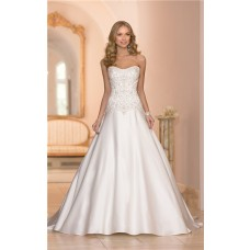 Ball Gown Strapless Satin Embroidery Beaded Corset Wedding Dress With Buttons