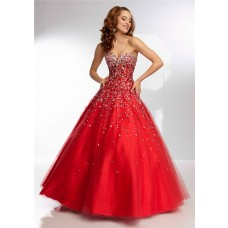 Ball Gown Strapless Sweetheart Corset Back Long Red Tulle Beaded Prom Dress