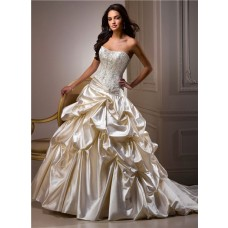 Ball Gown Sweetheart Champagne Colored Satin Embroidery Beaded Wedding Dress