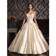 Ball Gown Sweetheart Champagne Satin Swarovski Crystals Beaded Wedding Dress