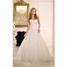 Ball Gown Sweetheart Champagne Tulle Lace Beaded Wedding Dress Corset Back