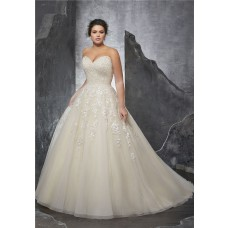 Ball Gown Sweetheart Ivory Satin Tulle Beaded Corset Plus Size Wedding Dress