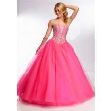 Ball Gown Sweetheart Long Hot Pink Tulle Beaded Boned Bodice Prom Dress Corset Back