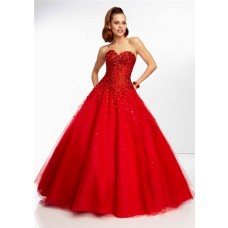 Ball Gown Sweetheart Long Scarlet Red Tulle Beaded Prom Dress Corset Back