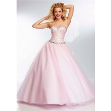 Ball Gown Sweetheart Neckline Light Pink Tulle Sequin Beaded Prom Dress Lace Up Back