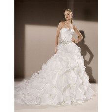Ball Gown Sweetheart Neckline Organza Ruffle Crystal Beaded Wedding Dress Corset Back