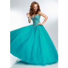 Ball Gown Sweetheart Sheer Illusion Back Long Aqua Tulle Beaded Prom Dress