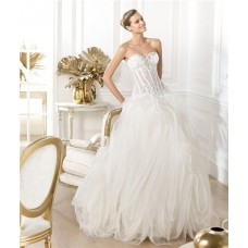 Ball Gown Sweetheart Sheer See Through Lace Organza Corset Wedding Dress With Crystals Pearls