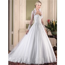 Ball Gown Sweetheart Tulle Lace Pearl Beaded Wedding Dress With Long Sleeve Jacket