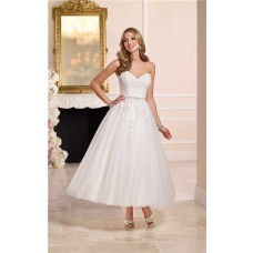 Ball Gown Sweetheart Tulle Lace Tea Length Wedding Dress Crystals Belt