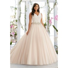 Ball Gown V Neck Organza Lace Beaded Plus Size Wedding Dress