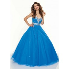 Ball Gown sweetheart floor length blue tulle prom dress with beading