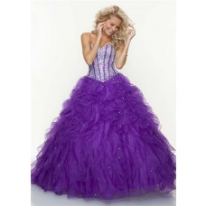 Ball Gown sweetheart floor length purple beaded prom dress with ruffles