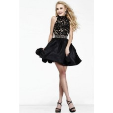 Ball High Neck Backless Short Black Satin Lace Beading Cocktail Prom Dress Open Back