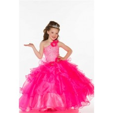Ball One Shoulder Hot Pink Organza Ruffle Beaded Little Girl Prom Dress With Flowers
