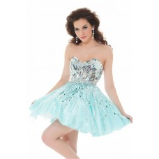 Ball Strapless Short/ Mini Aqua Blue Sequins Homecoming Party Prom Dress