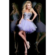 Ball Sweetheart Short Purple Satin Tulle Crystal Beading Sweet 16 Cocktail Prom Dress