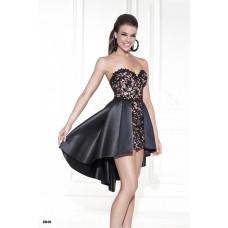 Beautiful Sweetheart Black Satin Lace High Low Hem Party Prom Dress