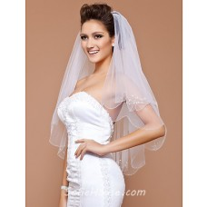 Beautiful Two layer White Tulle Wedding Bridal Veil With Beading