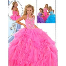 Beauty Puffy Pink Organza Ruffle Beaded Little Girls Pageant Party Prom Dress