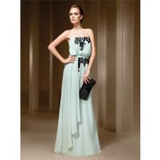Bohemian Strapless Seafoam Green Chiffon Black Lace Formal Occasion Evening Dress With Shawl