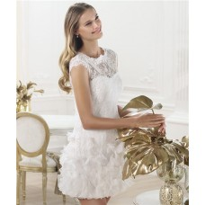 Casual Informal Illusion Neckline Short Mini Lace Wedding Dress With Flowers Buttons