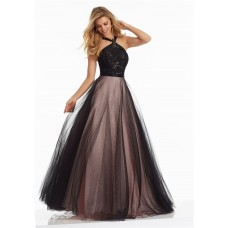 Charming A Line Halter Long Black Tulle Lace Beaded Prom Dress