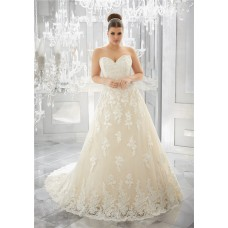 Charming A Line Sweetheart Champagne Tulle Lace Plus Size Wedding Dress