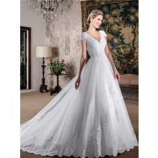 Charming Ball Gown V Neck Cap Sleeve Open Back Tulle Lace Wedding Dress