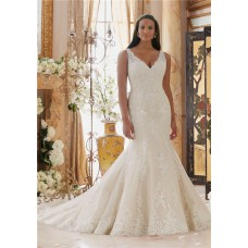 Charming Mermaid V Neck Sheer Back Lace Plus Size Wedding Dress With Buttons