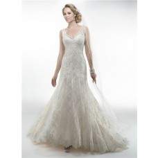 Charming Mermaid V Neck Sleeveless Open Back Vintage Lace Wedding Dress