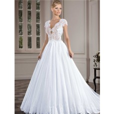 Charming Scalloped Neckline Cap Sleeve Illusion Back Lace Tulle Wedding Dress