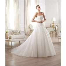 Classic A Line Princess Strapless Lace Tulle Draped Wedding Dress