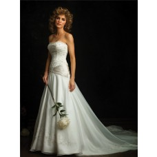 Classic A Line Strapless Organza Wedding Dress With Embroidery Beading