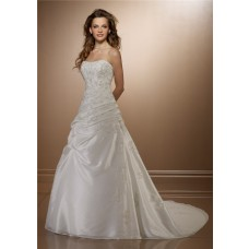 Classic A Line Strapless Ruched Taffeta Lace Beaded Wedding Dress Corset Back