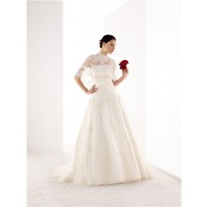 Classic A Line Strapless Tulle Lace Wedding Dress Capelet Jacket Flower Sash