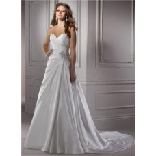 Classic A Line Sweetheart Corset Back Satin Wedding Dress With Swarovski Crystal