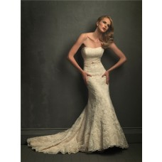Classic Mermaid Strapless Champagne Lace Wedding Dress With Belt V Back