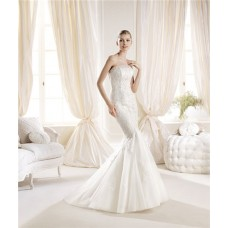 Classic Mermaid Strapless Tulle Lace Wedding Dress With Buttons