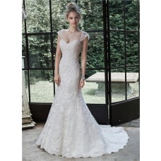 Classic Mermaid Sweetheart Lace Wedding Dress With Detachable Straps Cap Sleeves