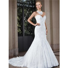 Classic Mermaid Sweetheart Low Back Lace Wedding Dress With Buttons