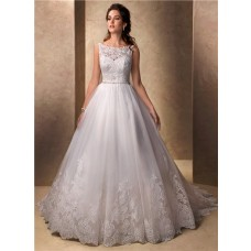 Classic Princess Ball Gown Bateau Neckline Tulle Lace Wedding Dress With Buttons
