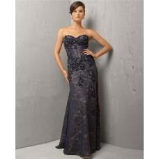 Classic Sweetheart Long Black Lace Beaded Corset Evening Wear Dress