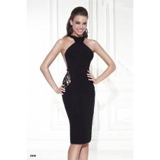 Column Black Satin Lace Applique Pencil Evening Occasion Dress