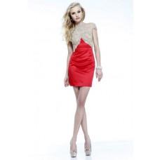 Column High Neck Cap Sleeves Backless Short Mini Red Satin Beaded Cocktail Prom Dress