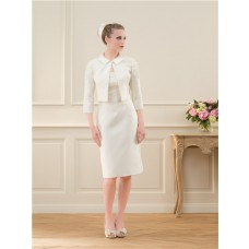 Column Straight Neckline Satin Lace Beaded Pearl Short Wedding Dress With Straps Jacket