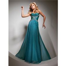 Cute A Line Princess Sweetheart Long Teal Chiffon Prom Dress With Beading