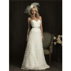 Cute A Line Sweetheart Floral Wedding Dress With Flower Beading Sash