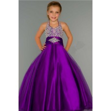 Cute Ball Gown Halter Purple Tulle Beading Flower Girl Party Prom Dress