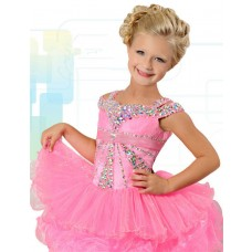 Cute Ball Short Pink Organza Layered Tutu Girl Pageant Prom Dress With Rhinestones